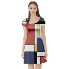 Abstract Art Of De Stijl Short Sleeve Skater Dress