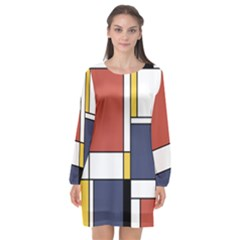 Abstract Art Of De Stijl Long Sleeve Chiffon Shift Dress  by FunnyCow