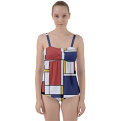 Abstract Art Of De Stijl Twist Front Tankini Set by FunnyCow