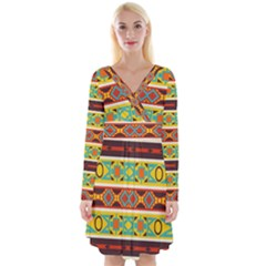Ovals Rhombus And Squares                                             Long Sleeve Front Wrap Dress