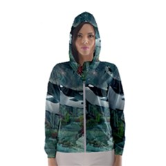Wonderful Orca In Deep Underwater World Hooded Windbreaker (women) by FantasyWorld7