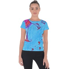 Hearts And Blue Short Sleeve Sports Top  by snowwhitegirl