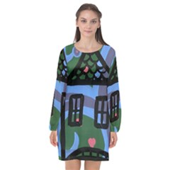 Smiling House Long Sleeve Chiffon Shift Dress  by snowwhitegirl