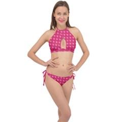 Punk Heart Pink Cross Front Halter Bikini Set by snowwhitegirl