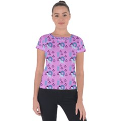 Punk Baby Pink Short Sleeve Sports Top