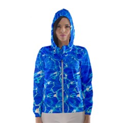 Blue Clear Water Texture Hooded Windbreaker (women) by FunnyCow