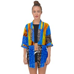The Fifth Inside Funny Pattern Open Front Chiffon Kimono by FunnyCow