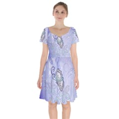 Wonderful Butterlies With Flowers Short Sleeve Bardot Dress by FantasyWorld7