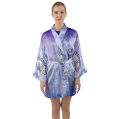 Wonderful Butterlies With Flowers Long Sleeve Kimono Robe by FantasyWorld7