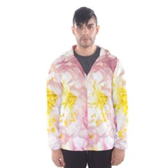 Pink Flowering Almond Flowers Hooded Windbreaker (men) by FunnyCow