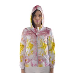 Pink Flowering Almond Flowers Hooded Windbreaker (women) by FunnyCow