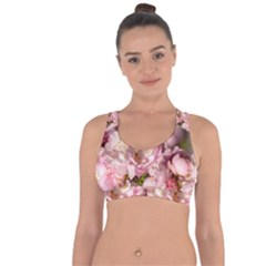 Beautiful Flowering Almond Cross String Back Sports Bra by FunnyCow