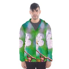 Sakura Flowers On Green Hooded Windbreaker (men) by FunnyCow