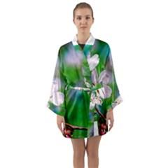 Sakura Flowers On Green Long Sleeve Kimono Robe by FunnyCow