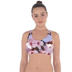 Three Sakura Flowers Cross String Back Sports Bra by FunnyCow