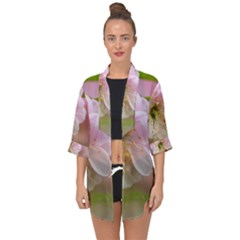 Single Almond Flower Open Front Chiffon Kimono by FunnyCow