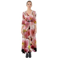 Blooming Almond At Sunset Button Up Boho Maxi Dress