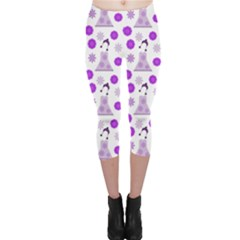 Lilac Dress On White Capri Leggings  by snowwhitegirl