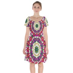 Fauna Fantasy Bohemian Midsummer Flower Style Short Sleeve Bardot Dress by pepitasart