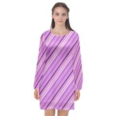 Violet Diagonal Lines Long Sleeve Chiffon Shift Dress  by snowwhitegirl