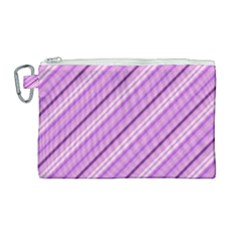 Violet Diagonal Lines Canvas Cosmetic Bag (large) by snowwhitegirl