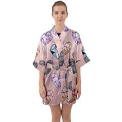 Gem Hearts And Rose Gold Quarter Sleeve Kimono Robe by 8fugoso
