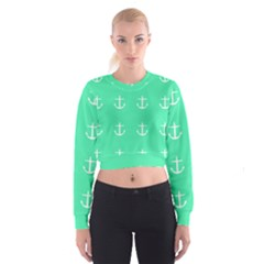 Seafoam Anchors Cropped Sweatshirt by snowwhitegirl