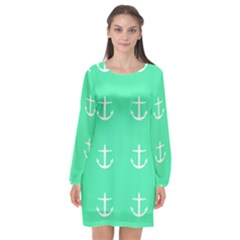 Seafoam Anchors Long Sleeve Chiffon Shift Dress  by snowwhitegirl