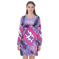 Purple Retro Pop Long Sleeve Chiffon Shift Dress  by snowwhitegirl