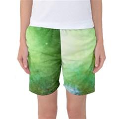 Galaxy Green Women s Basketball Shorts by snowwhitegirl