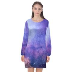 Galaxy Long Sleeve Chiffon Shift Dress  by snowwhitegirl