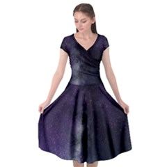 Galaxy Sky Purple Cap Sleeve Wrap Front Dress by snowwhitegirl