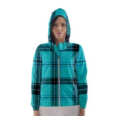 Aqua Plaid Hooded Windbreaker (women) by snowwhitegirl