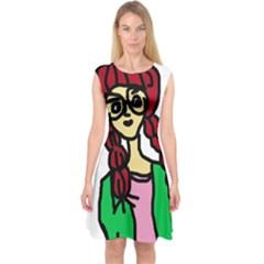 Nerdy Girl Capsleeve Midi Dress