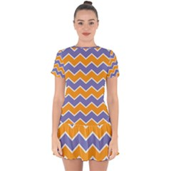 Zigzag Chevron Pattern Blue Orange Drop Hem Mini Chiffon Dress by snowwhitegirl