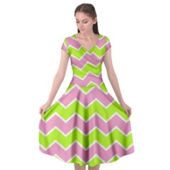 Zigzag Chevron Pattern Green Pink Cap Sleeve Wrap Front Dress by snowwhitegirl