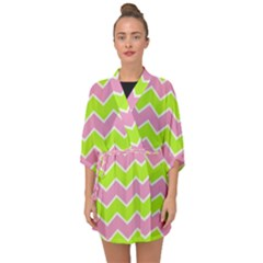 Zigzag Chevron Pattern Green Pink Half Sleeve Chiffon Kimono by snowwhitegirl