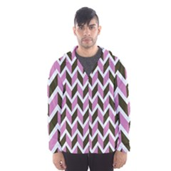 Zigzag Chevron Pattern Pink Brown Hooded Windbreaker (men) by snowwhitegirl