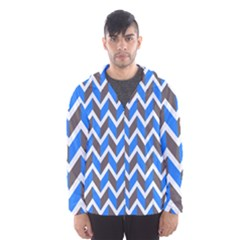 Zigzag Chevron Pattern Blue Grey Hooded Windbreaker (men) by snowwhitegirl