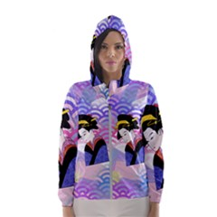 Japanese Abstract Blue Hooded Windbreaker (women) by snowwhitegirl