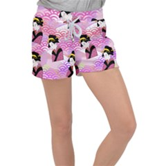 Japanese Abstract Pink Women s Velour Lounge Shorts by snowwhitegirl