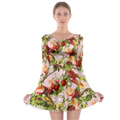 Fruit Blossom Pink Long Sleeve Skater Dress by snowwhitegirl