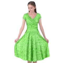 Knitted Wool Neon Green Cap Sleeve Wrap Front Dress by snowwhitegirl