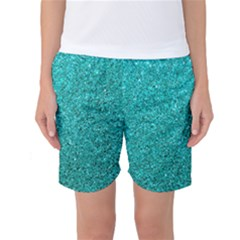 Aqua Glitter Women s Basketball Shorts by snowwhitegirl