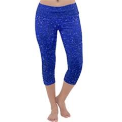 Blue Glitter Capri Yoga Leggings by snowwhitegirl