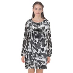 Grey Camo Long Sleeve Chiffon Shift Dress  by snowwhitegirl