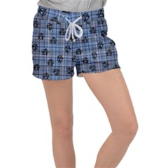 Blue  Plaid Anarchy Women s Velour Lounge Shorts by snowwhitegirl