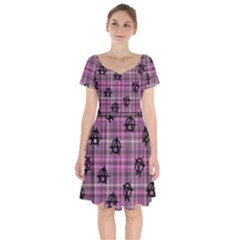 Pink  Plaid Anarchy Short Sleeve Bardot Dress by snowwhitegirl