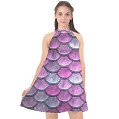 Pink Mermaid Scale Halter Neckline Chiffon Dress  by snowwhitegirl