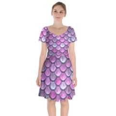 Pink Mermaid Scale Short Sleeve Bardot Dress by snowwhitegirl